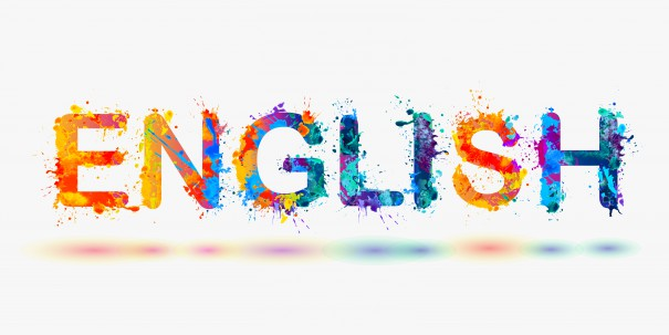 Word ENGLISH for language courses isolated on white background