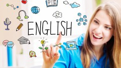 English concept with young woman in her home office