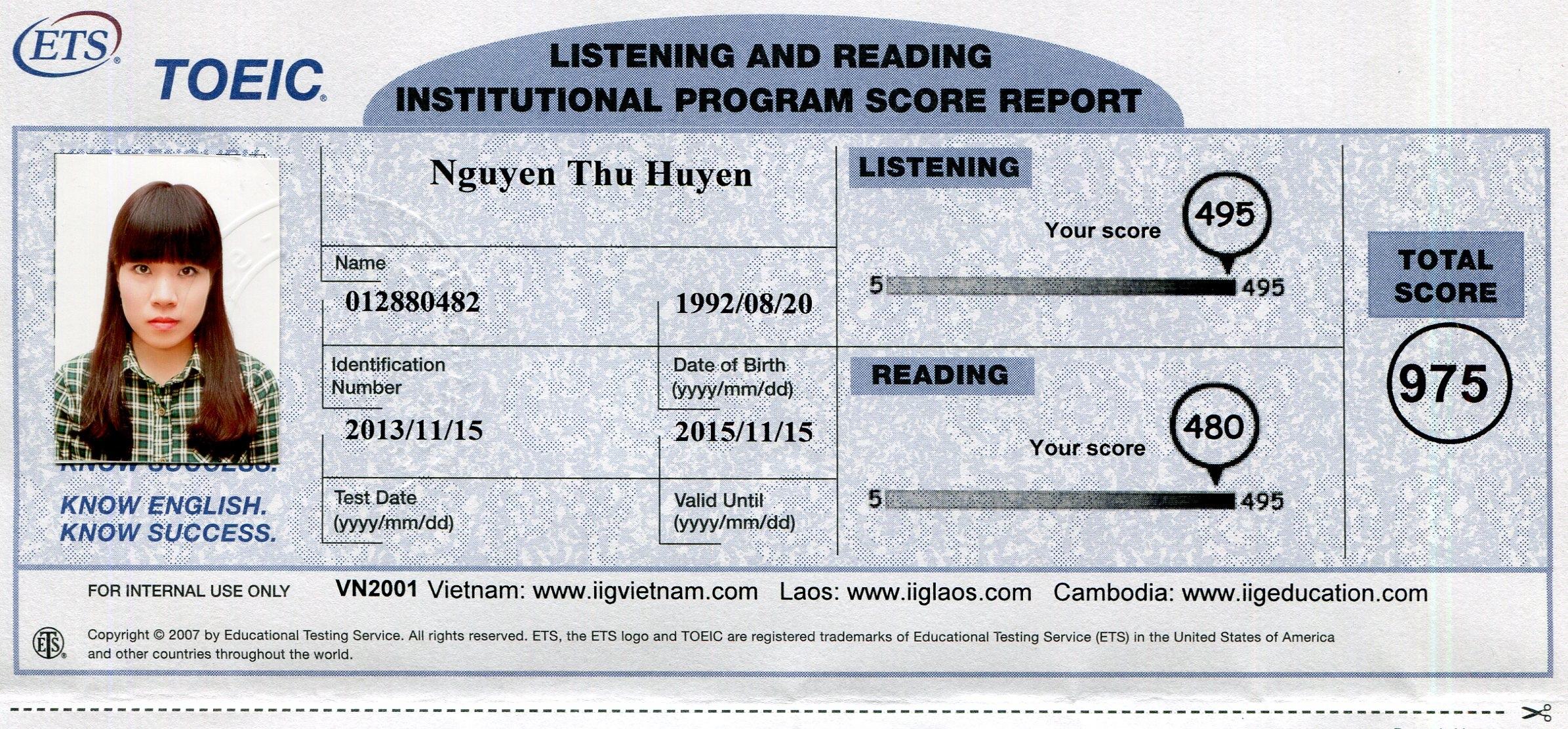 Kỷ lục toeic mới tại đỗ dung class - 975 Điểm