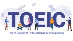 toeic test of english for international communication concept with big word or text and team people with modern flat style - vector illustration